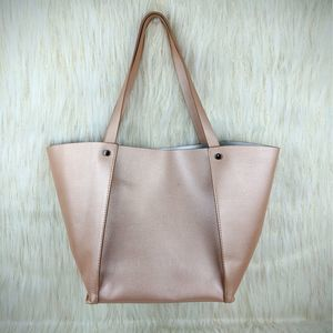 NEW Neiman Marcus Faux Leather Pink Large Tote
